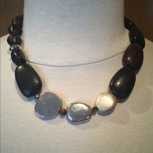 Chico's chunky necklace in brown and silver